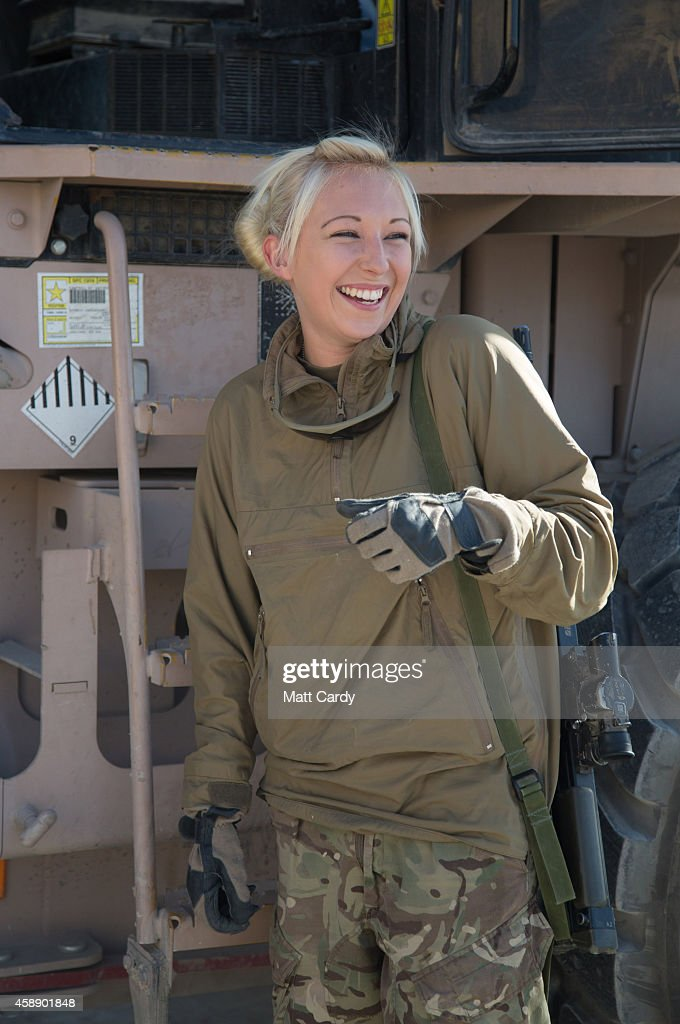Emma McCaffery from the RAF's 2 Mechanical Transport Squadron poses for a photograph at Kandahar airfield on November 13 2014 in Kandahar Afghanistan...
