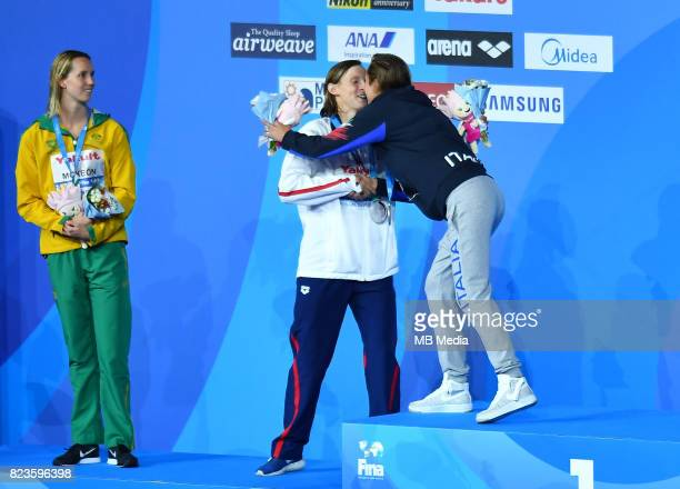 Emma Mckeon Katie Ledecky Federica Pellegrini during the Budapest 2017 FINA World Championships on July 26 2017 in Budapest Hungary