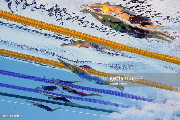 Emma McKeon Sarah Sjostrom of Sweden Rikako Ikee of Japan Penny Oleksiak of Canada and Jeanette Ottesen of Denmark compete in the Women's 100m...