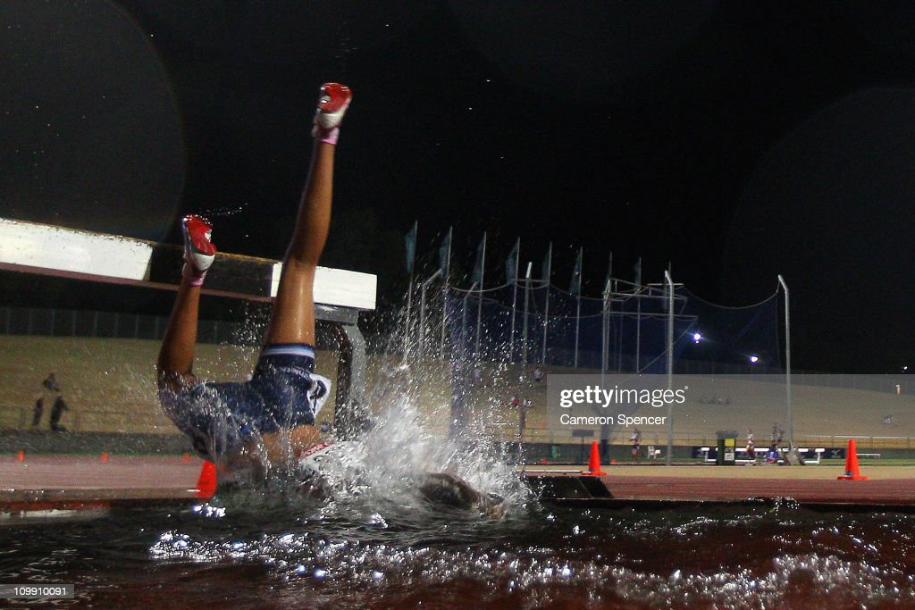 Emma McKinney Of New South Wales Falls In The Womens U17 2000m Steeplechase During Day One