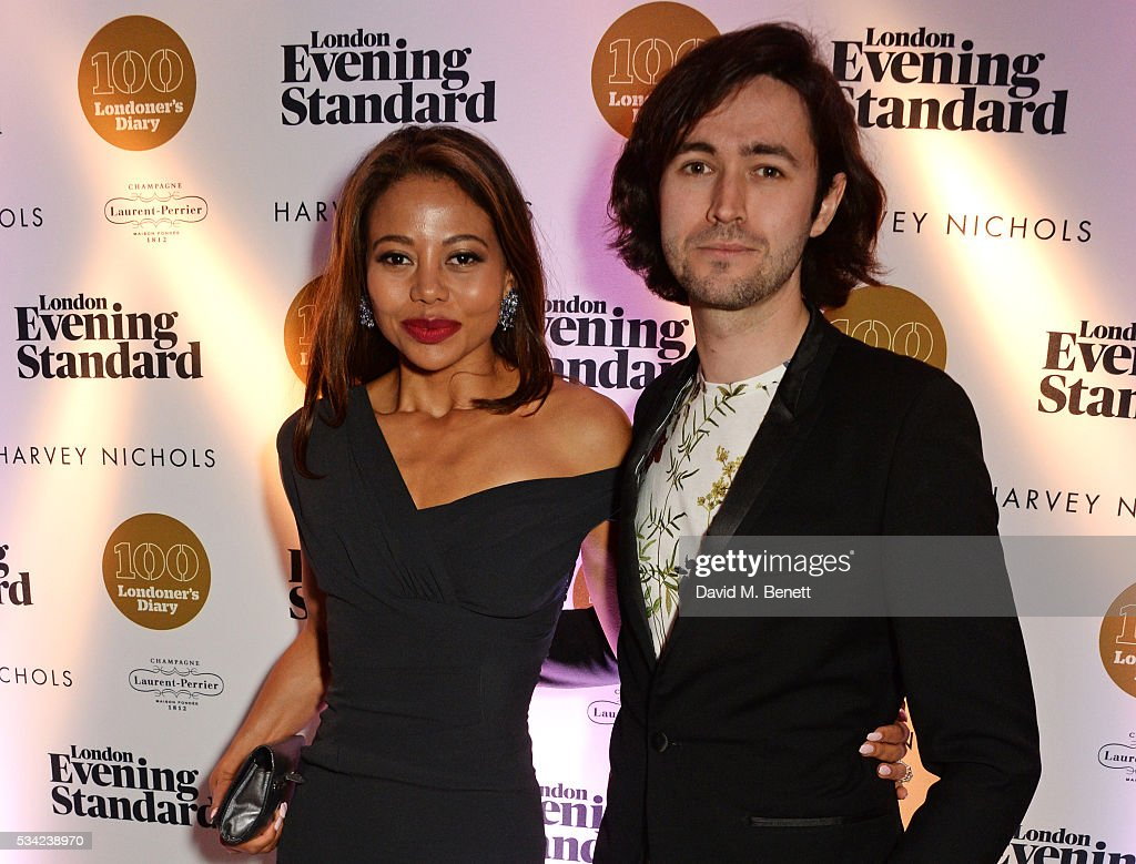 Emma McQuiston, Viscountess Weymouth, and Guy Pewsey, Deputy Editor of the Londoner's Diary, attend the London Evening Standard Londoner's Diary 100th Birthday Party in partnership with Harvey Nichols at Harvey Nichols on May 25, 2016 in London, England.