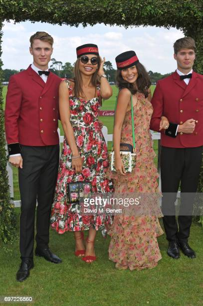 Emma McQuiston Viscountess Weymouth and Jasmine Hemsley attend the Cartier Queen's Cup Polo final at Guards Polo Club on June 18 2017 in Egham England