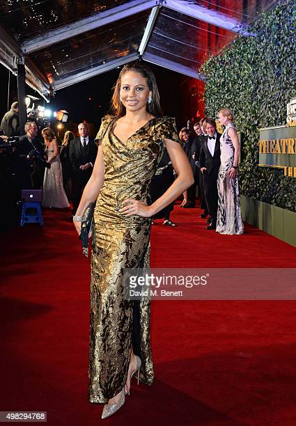Emma McQuiston Viscountess Weymouth arrives at The London Evening Standard Theatre Awards in partnership with The Ivy at The Old Vic Theatre on...