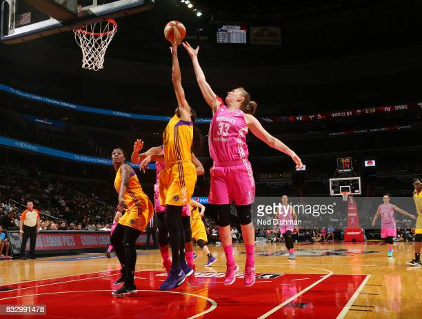 Emma Meesseman of the Washington Mystics blocks the shot against the Los Angeles Sparks on August 16 2017 at the Verizon Center in Washington DC NOTE...
