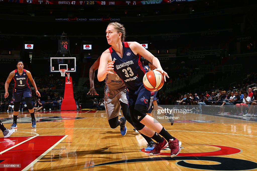 Emma Meesseman #33 of the Washington Mystics drives to the basket against the Minnesota Lynx during game on June 26, 2016 at Verizon Center in Washington, District of Columbia.