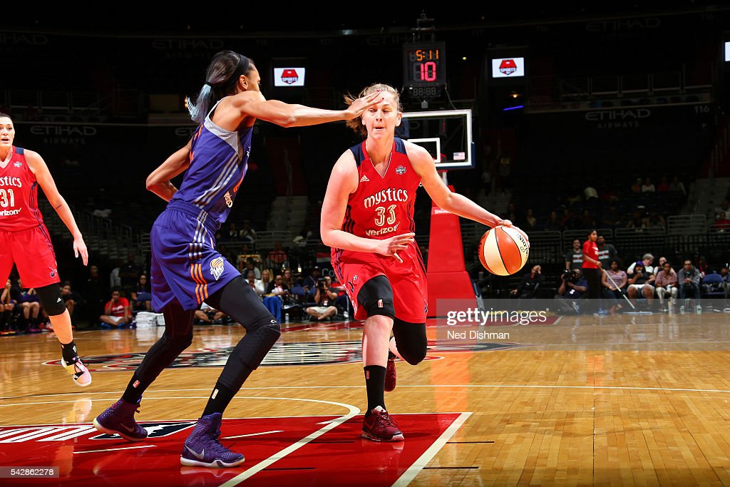 Emma Meesseman #33 of the Washington Mystics drives to the basket during the game against the Phoenix Mercury during a WNBA game on June 24, 2016 at Verizon Center in Washington, DC.