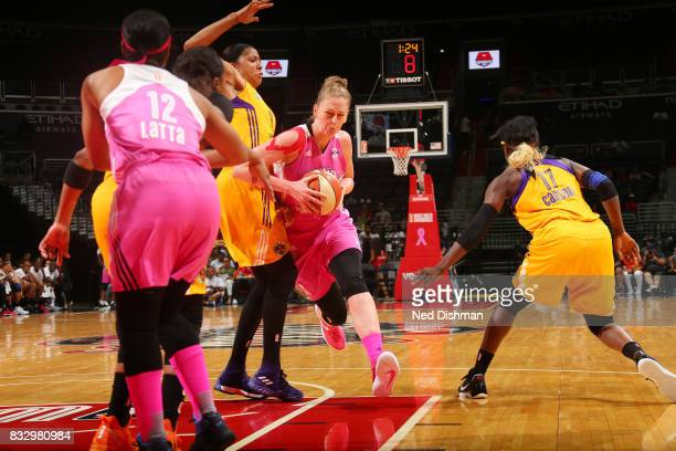 Emma Meesseman of the Washington Mystics handles the ball against the Los Angeles Sparks on August 16 2017 at the Verizon Center in Washington DC...