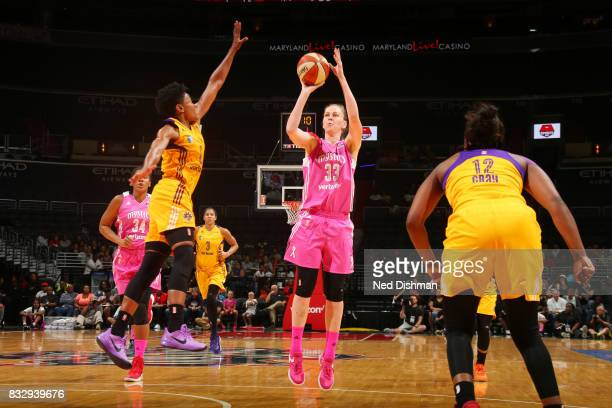 Emma Meesseman of the Washington Mystics passes the ball against the Los Angeles Sparks on August 16 2017 at the Verizon Center in Washington DC NOTE...