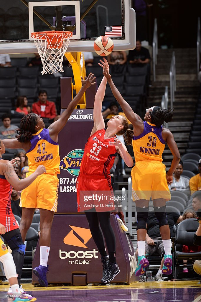 Emma Meesseman #33 of the Washington Mystics shoots against the Los Angeles Sparks at STAPLES Center on July 17, 2014 in Los Angeles, California.