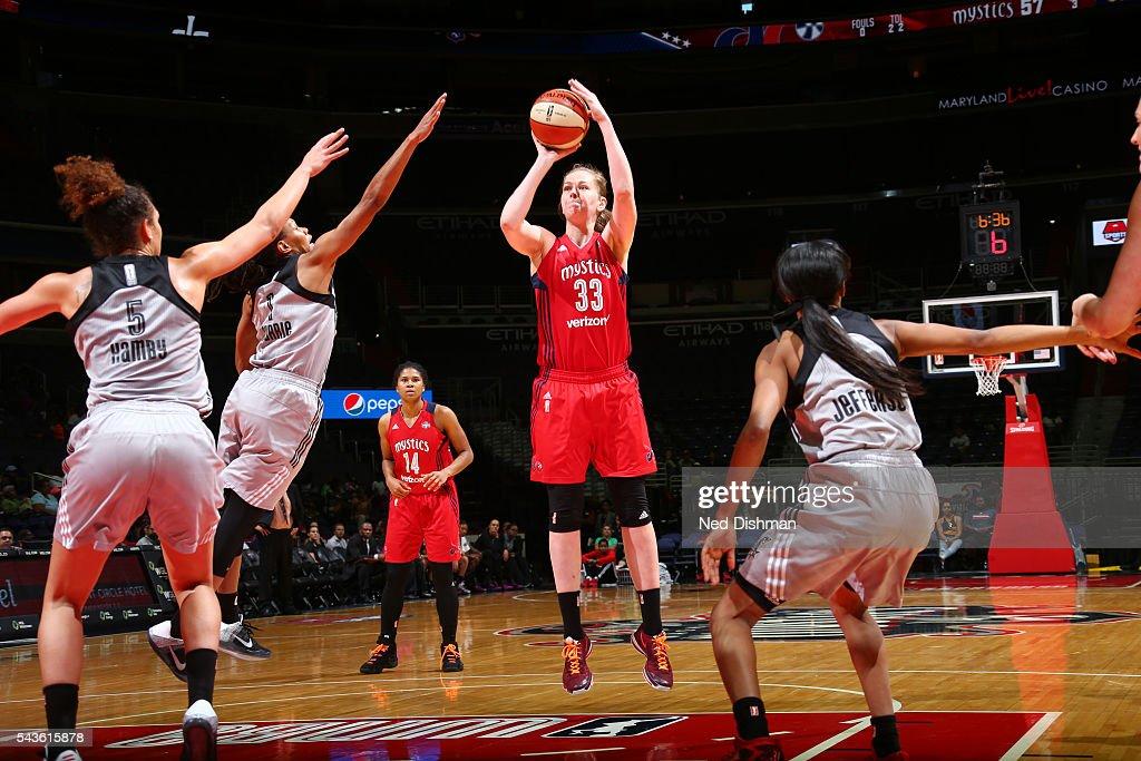 Emma Meesseman #33 of the Washington Mystics shoots the ball against the San Antonio Stars on June 29, 2016 at the Verizon Center in Washington, DC.