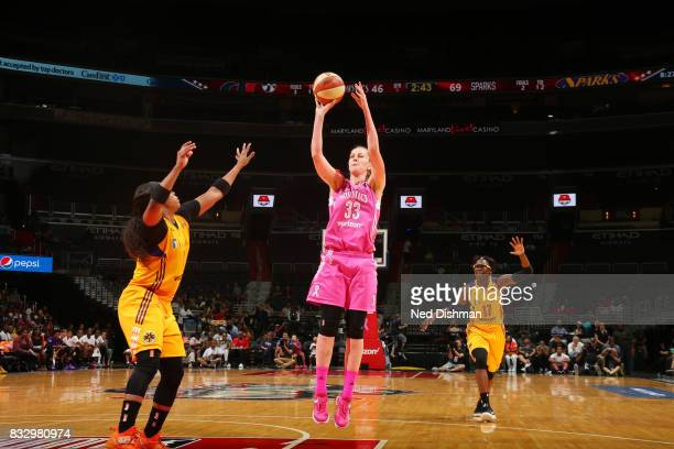 Emma Meesseman of the Washington Mystics shoots the ball against the Los Angeles Sparks on August 16 2017 at the Verizon Center in Washington DC NOTE...