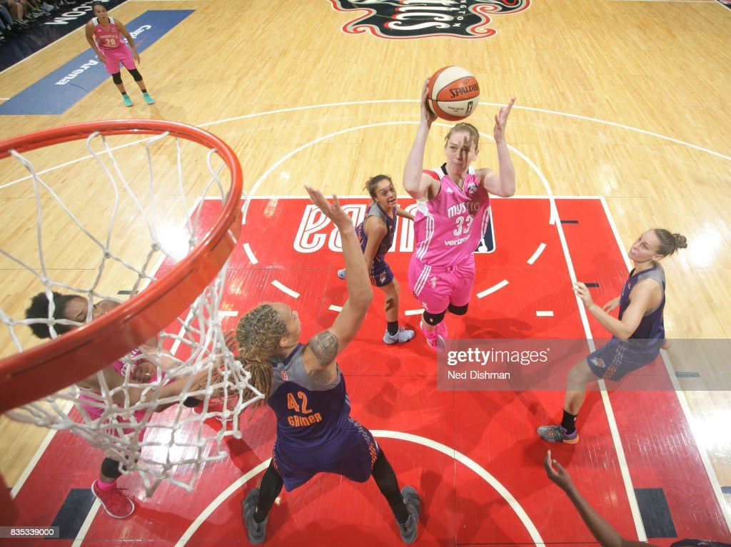 Emma Meesseman #33 of the Washington Mystics shoots the ball against the Phoenix Mercury on August 18, 2017 at the Verizon Center in Washington, DC.