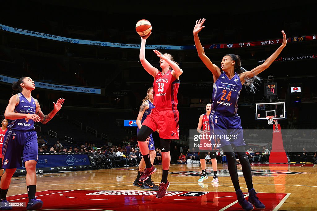 Emma Meesseman #33 of the Washington Mystics shoots the ball during the game against the Phoenix Mercury during a WNBA game on June 24, 2016 at Verizon Center in Washington, DC.