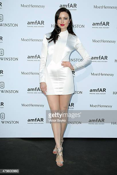 Emma Miller attends the amfAR dinner at the Pavillon LeDoyen during the Paris Fashion Week Haute Couture on July 5 2015 in Paris France