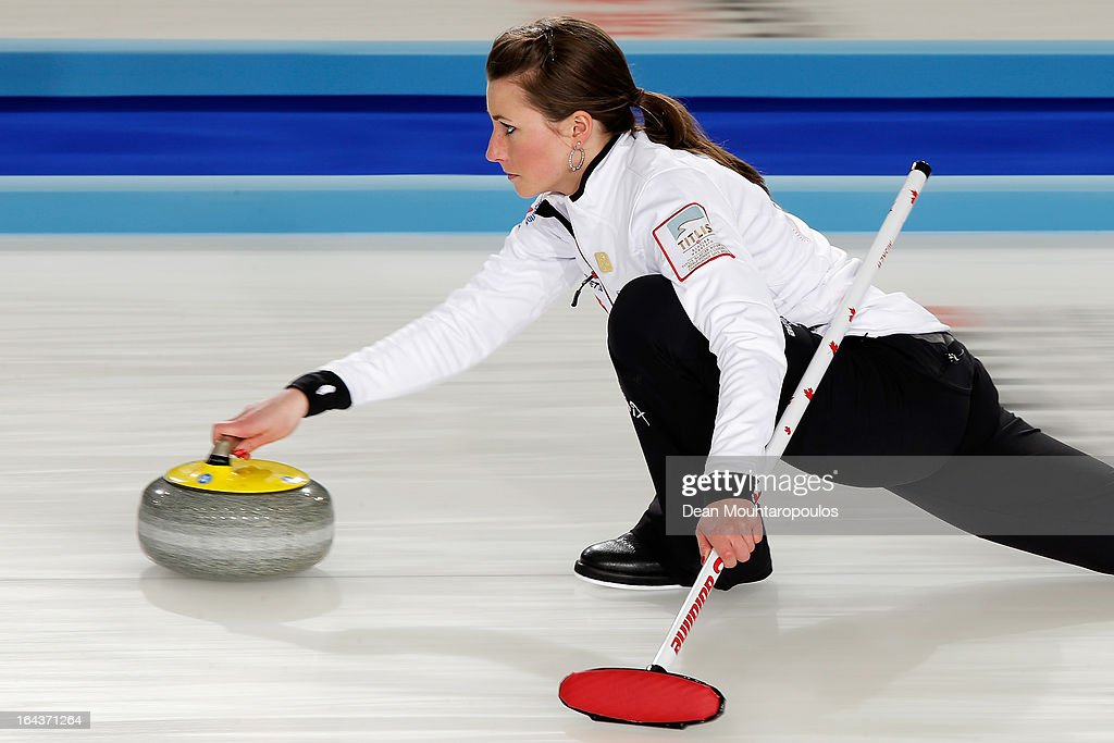 Emma Miskew of Canada throws a stone during the 3rd and 4th Play-Off match between USA and Canada on Day 8 of the Titlis Glacier Mountain World Women's Curling Championship at the Volvo Sports Centre on March 23, 2013 in Riga, Latvia.