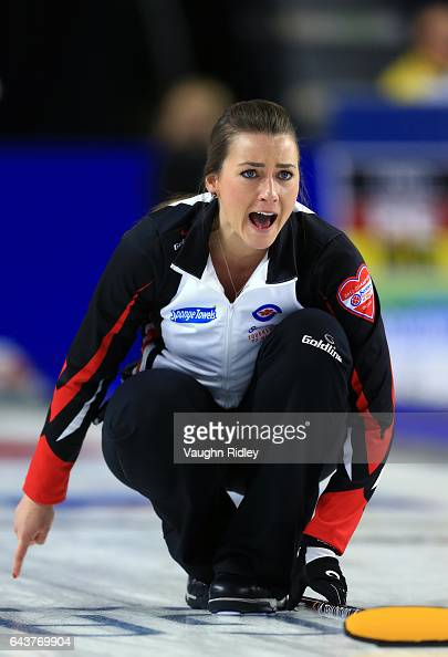Emma Miskew of Ontario reacts after delivering a stone in a draw eleven match against Newfoundland Labrador during the 2017 Scotties Tournament of...
