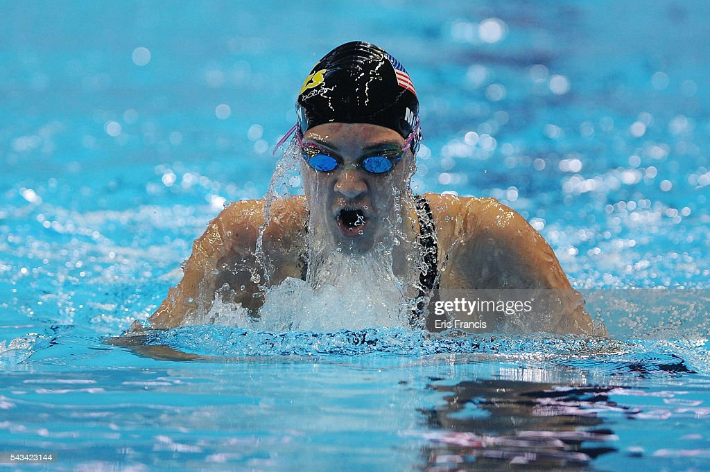 Emma Muzzy of the United States competes in a preliminary heat of the Women's 200 Meter Individual Medley during Day 3 of the 2016 U.S. Olympic Team Swimming Trials at CenturyLink Center on June 28, 2016 in Omaha, Nebraska.