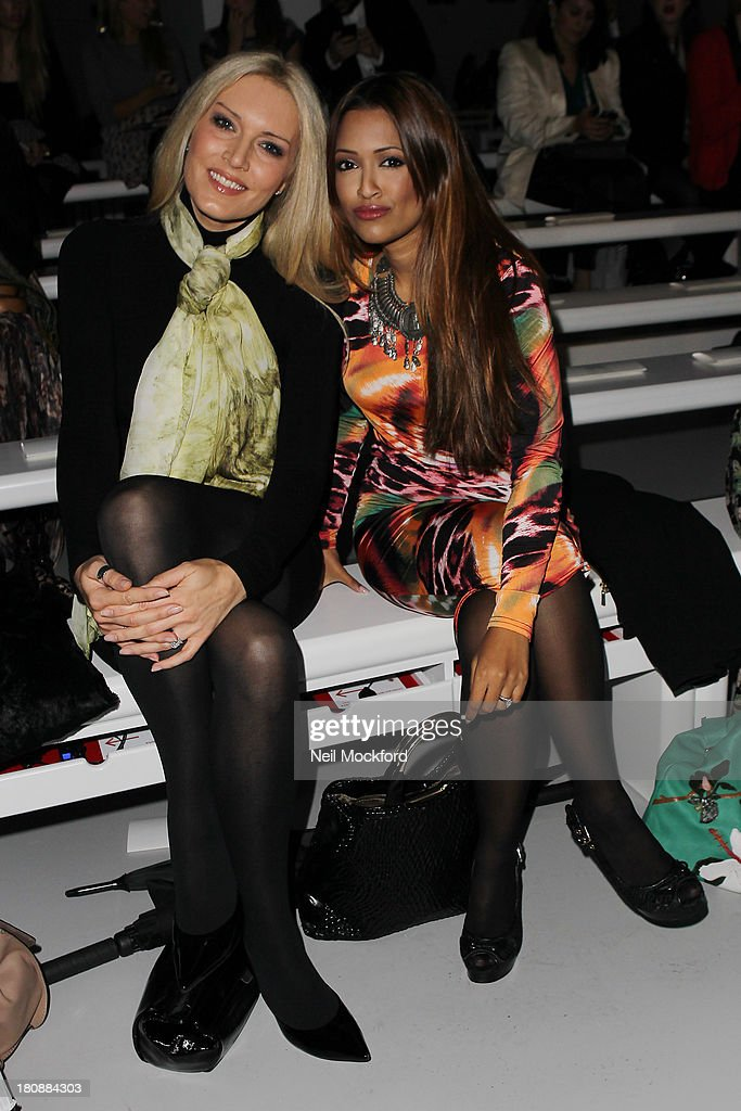 Emma Noble and Tasmin Lucia-Kahn seen at the Maria Grachvogel fashion show at Somerset House on September 17, 2013 in London, England.