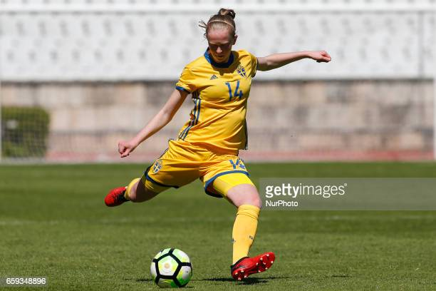 Emma Ostlund of Sweden during the UEFA U17 Women's Championship Qualifier match between Iceland and Sweden at National stadium on March 28 2017 in...