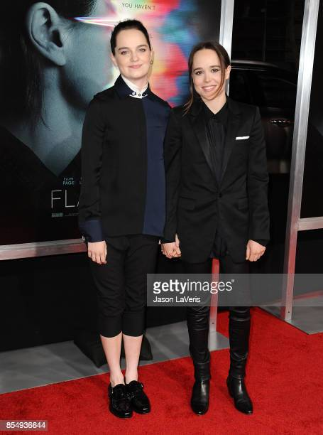 Emma Portner and Ellen Page attend the premiere of 'Flatliners' at The Theatre at Ace Hotel on September 27 2017 in Los Angeles California