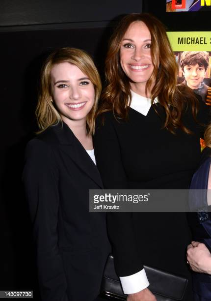 Emma Robert and Julia Roberts attends the Los Angeles premiere of 'Jesus Henry Christ' at Mann Chinese 6 on April 18 2012 in Los Angeles California
