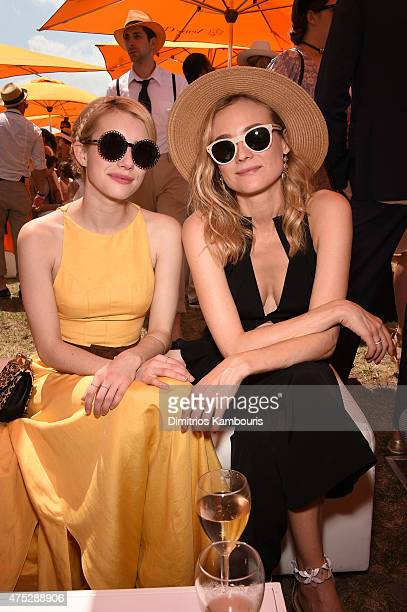 Emma Roberts and Diane Kruger attend the EighthAnnual Veuve Clicquot Polo Classic at Liberty State Park on May 30 2015 in Jersey City New Jersey