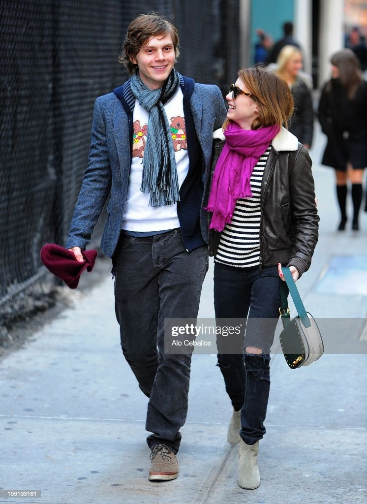Emma Roberts and Evan Peters are seen in Midtown on January 8, 2013 in New York City.