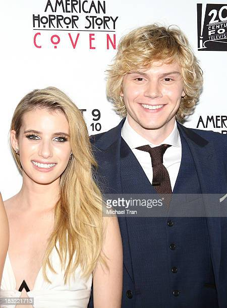 Emma Roberts and Evan Peters arrive at the premiere of FX's 'American Horror Story Coven' held at Pacific Design Center on October 5 2013 in West...