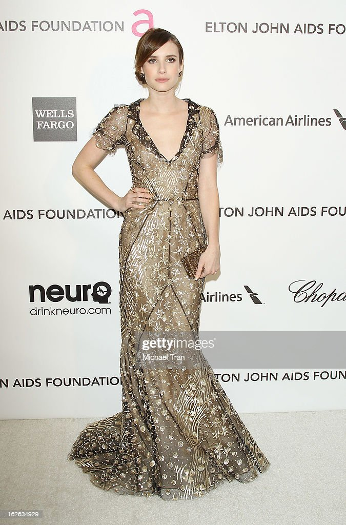 Emma Roberts arrives at the 21st Annual Elton John AIDS Foundation Academy Awards viewing party held at West Hollywood Park on February 24, 2013 in West Hollywood, California.