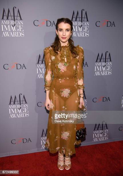 Emma Roberts arrives at the American Apparel Footwear Association's 39th Annual American Image Awards 2017 on April 24 2017 in New York City