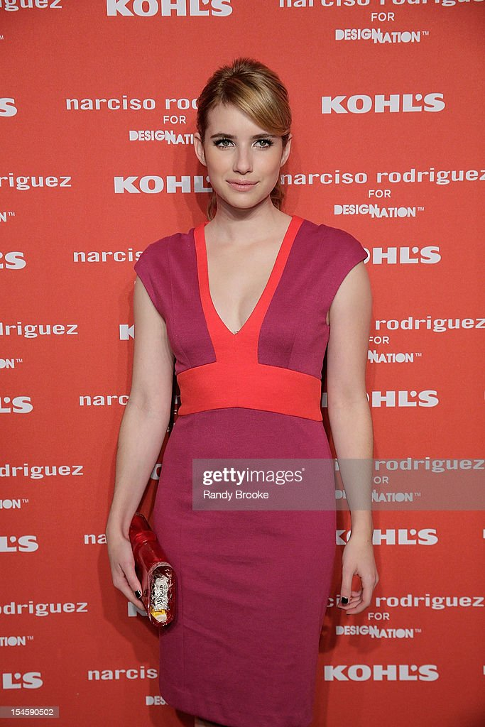 <a gi-track='captionPersonalityLinkClicked' href=/galleries/search?phrase=Emma+Roberts&family=editorial&specificpeople=226535 ng-click='$event.stopPropagation()'>Emma Roberts</a> attends Narciso Rodriguez For Kohl's DesigNation Collection Launch at IAC Building on October 22, 2012 in New York City.