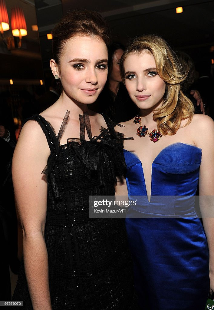 *EXCLUSIVE* Emma Roberts (right) attends the 2010 Vanity Fair Oscar Party hosted by Graydon Carter at the Sunset Tower Hotel on March 7, 2010 in West Hollywood, California.