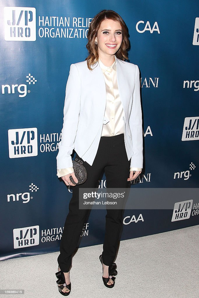 <a gi-track='captionPersonalityLinkClicked' href=/galleries/search?phrase=Emma+Roberts&family=editorial&specificpeople=226535 ng-click='$event.stopPropagation()'>Emma Roberts</a> attends the 2nd Annual Sean Penn & Friends Help Haiti Home Presented By Giorgio Armani - A Gala To Benefit J/P HRO - Arrivals at Montage Beverly Hills on January 12, 2013 in Beverly Hills, California.