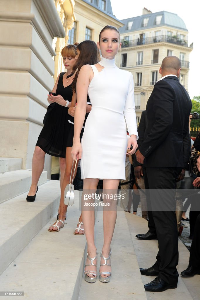 <a gi-track='captionPersonalityLinkClicked' href=/galleries/search?phrase=Emma+Roberts&family=editorial&specificpeople=226535 ng-click='$event.stopPropagation()'>Emma Roberts</a> attends the Versace show as part of Paris Fashion Week Haute-Couture Fall/Winter 2013-2014 at on June 30, 2013 in Paris, France.