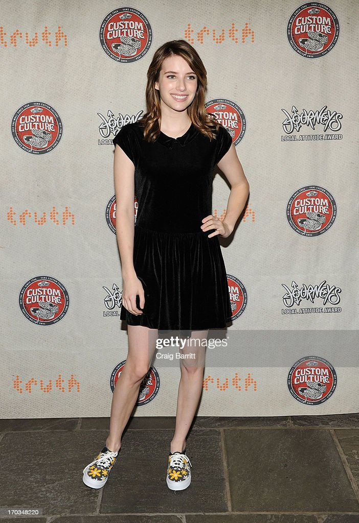 <a gi-track='captionPersonalityLinkClicked' href=/galleries/search?phrase=Emma+Roberts&family=editorial&specificpeople=226535 ng-click='$event.stopPropagation()'>Emma Roberts</a> attends Vans Custom Culture at The Whitney Museum of American Art on June 11, 2013 in New York City.