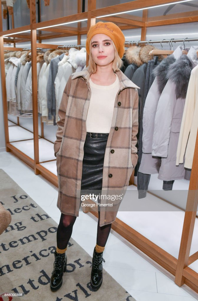 Emma Roberts attends Woolrich Yorkdale Grand Opening at Yorkdale Shopping Center on December 7, 2017 in Toronto, Canada.