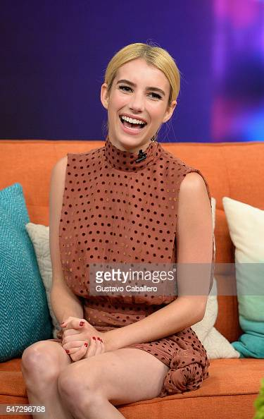 Emma Roberts is on the set of Univisions 'Despierta America' to support the film 'Nerve'' at Univision Studios on July 14 2016 in Miami Florida