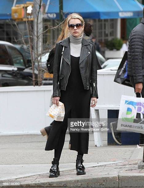 Emma Roberts is seen in New York City on April 14 2015 in New York City