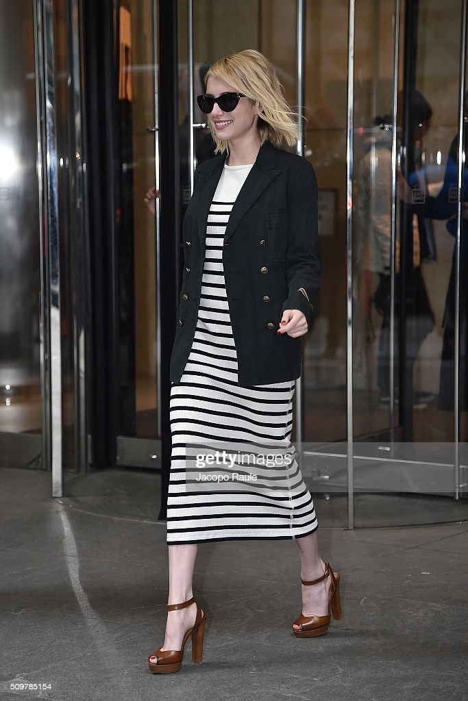 <a gi-track='captionPersonalityLinkClicked' href=/galleries/search?phrase=Emma+Roberts&family=editorial&specificpeople=226535 ng-click='$event.stopPropagation()'>Emma Roberts</a> is seen leaving the Polo Ralph Lauren presentation during Fall 2016 New York Fashion Week on February 12, 2016 in New York City.