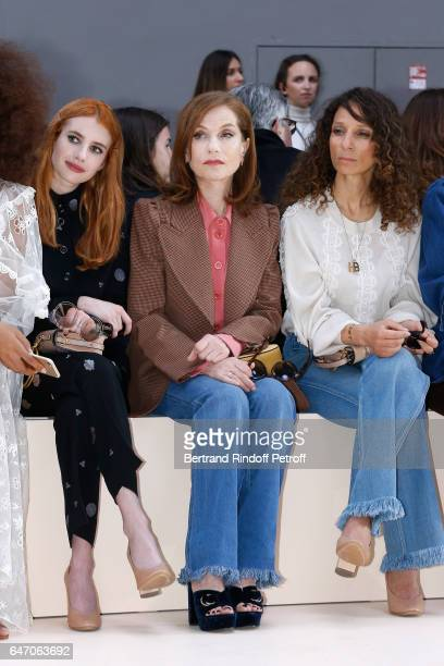 Emma Roberts Isabelle Huppert Houda Benyamina and Clemence Poesy attend the Chloe show as part of the Paris Fashion Week Womenswear Fall/Winter...