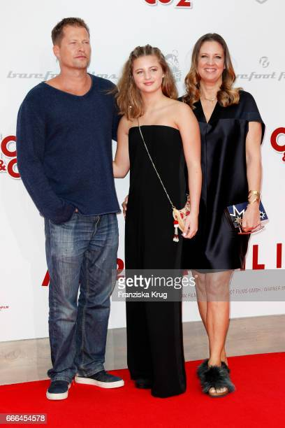 Emma Schweiger and her parents Till Schweiger and Dana Schweiger attend the 'Conni Co 2 Das Geheimnis des TRex' premiere on April 9 2017 in Berlin...