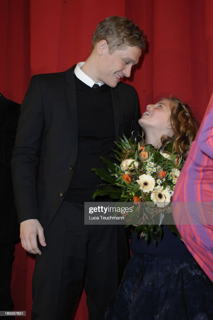 <a gi-track='captionPersonalityLinkClicked' href=/galleries/search?phrase=Emma+Schweiger&family=editorial&specificpeople=7629606 ng-click='$event.stopPropagation()'>Emma Schweiger</a> and Matthias Schweighoefer attends 'Kokowaeaeh 2' Germany Premiere at Cinestar Potsdamer Platz on January 29, 2013 in Berlin, Germany.