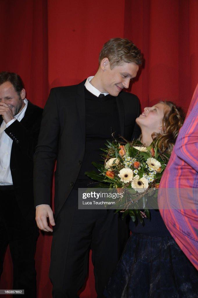 Emma Schweiger and Matthias Schweighoefer attends 'Kokowaeaeh 2' Germany Premiere at Cinestar Potsdamer Platz on January 29, 2013 in Berlin, Germany.