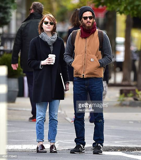 Emma Stone and Andrew Garfield are seen in the West Village on October 31 2014 in New York City