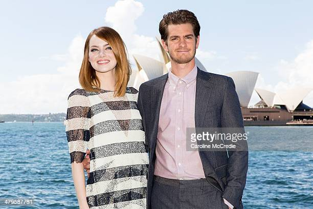Emma Stone and Andrew Garfield at 'The Amazing SpiderMan 2 Rise Of Electro' photocall on March 20 2014 in Sydney Australia