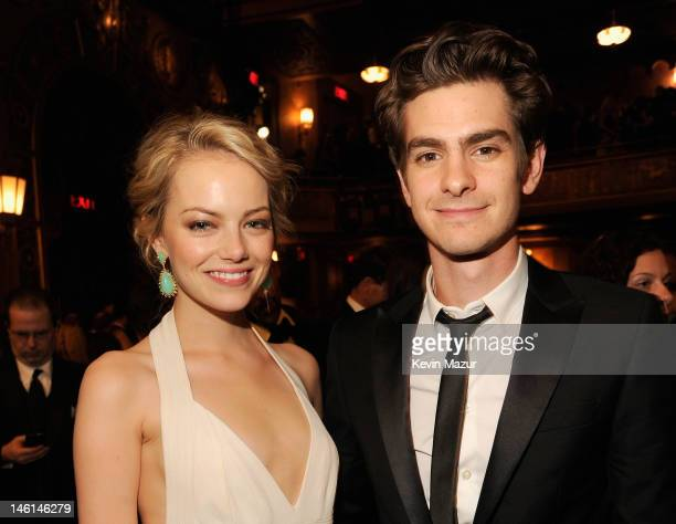 Emma Stone and Andrew Garfield attend the 66th Annual Tony Awards at The Beacon Theatre on June 10 2012 in New York City