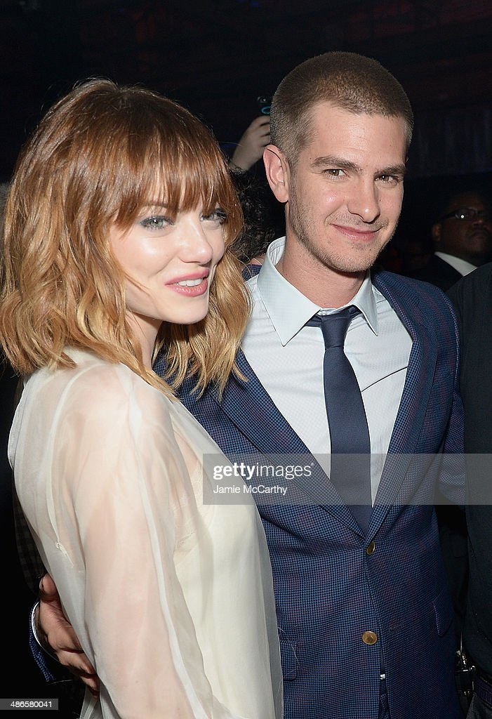 Emma Stone and Andrew Garfield attend the after party for 'The Amazing Spider-Man 2' premiere at Skylight at Moynihan Station on April 24, 2014 in New York City.