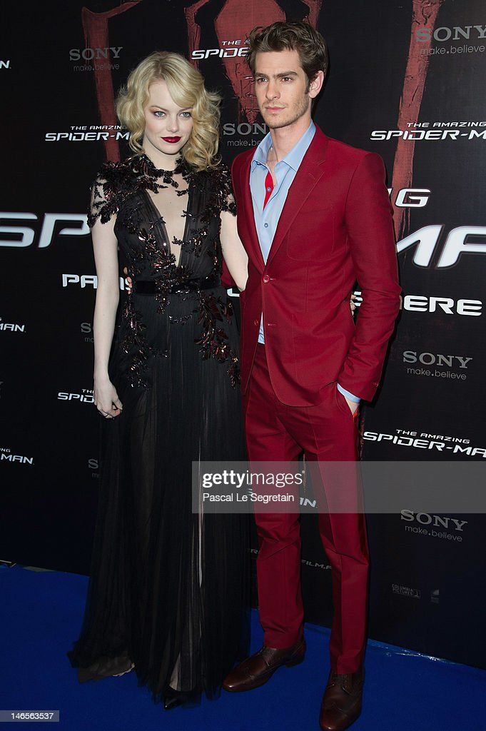 Emma Stone and Andrew Garfield attend 'The Amazing Spider Man' Paris Film premiere at Le Grand Rex on June 19, 2012 in Paris, France.