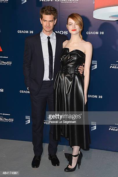 Emma Stone and Andrew Garfield attend 'The Amazing SpiderMan 2' Paris Premiere at Le Grand Rex on April 11 2014 in Paris France