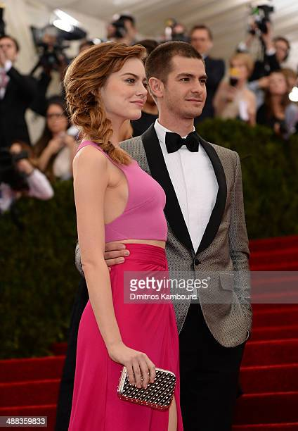 Emma Stone and Andrew Garfield attend the 'Charles James Beyond Fashion' Costume Institute Gala at the Metropolitan Museum of Art on May 5 2014 in...